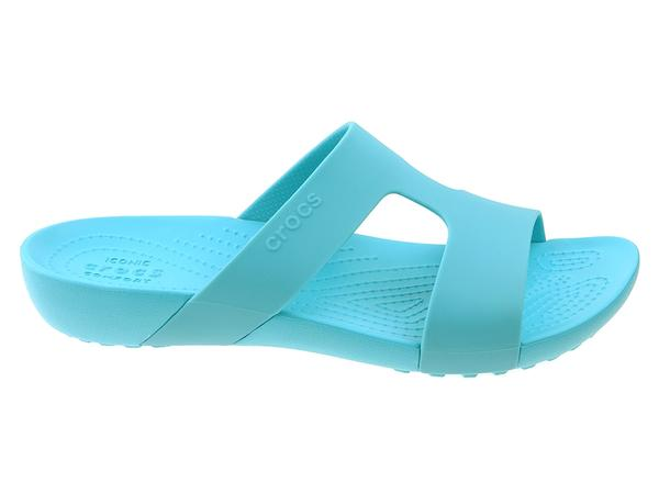 eb76987c42fd0 Buty na lato damskie Crocs Klapki Crocs Serena Slide 205675-40M turkusowy.  Kliknij ...