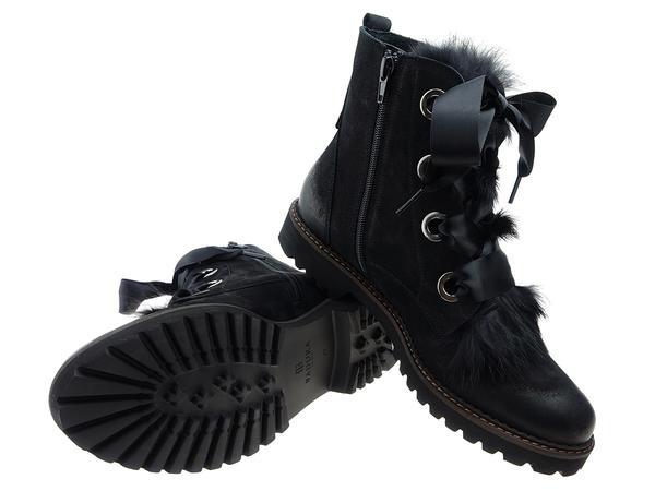 czarne botki z futerkiem badura